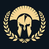 Gladiator silhouette with laurel wreath