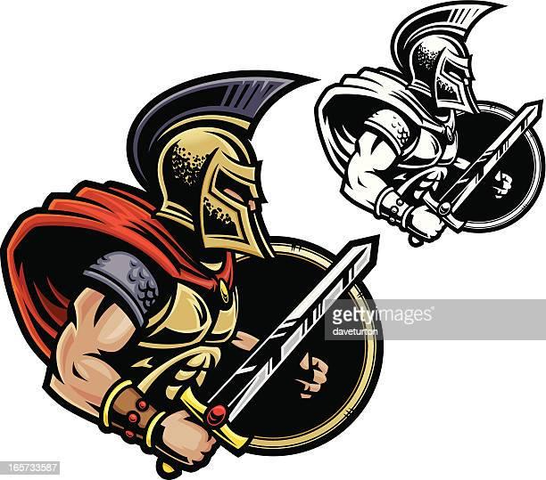 gladiator warrior - gladiator stock illustrations, clip art, cartoons, & icons