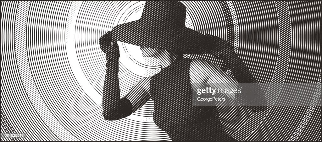 Glamorous woman wearing retro black hat, formal gloves and dress. : stock illustration