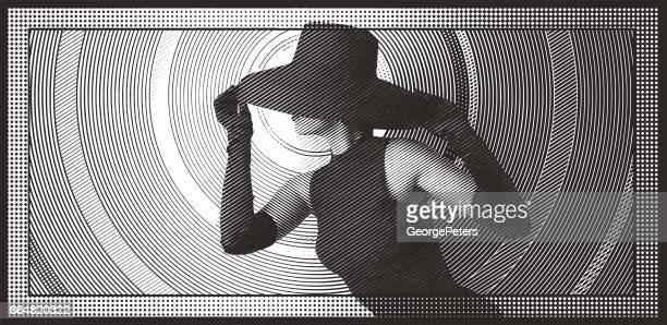 Glamorous woman wearing retro black hat, formal gloves and dress.