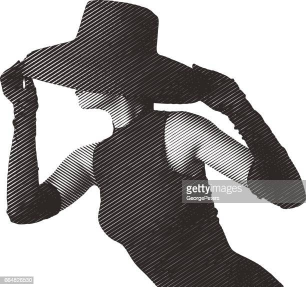 glamorous woman wearing retro black hat, formal gloves and dress. - obscured face stock illustrations, clip art, cartoons, & icons
