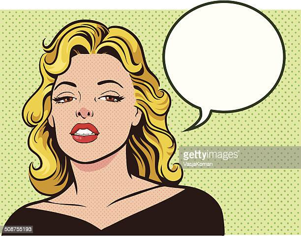 ilustrações de stock, clip art, desenhos animados e ícones de glamorosa mulher com balão de fala - mulher fatal