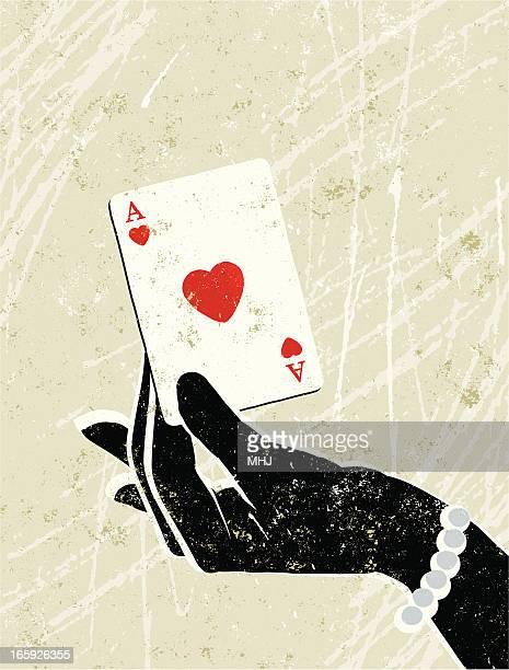 illustrazioni stock, clip art, cartoni animati e icone di tendenza di donna glamour di mano che tiene un asso di cuori carta da gioco - matrice per serigrafia