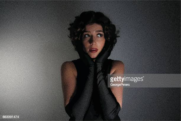 glamorous young woman with dark lighting - gasping stock illustrations, clip art, cartoons, & icons