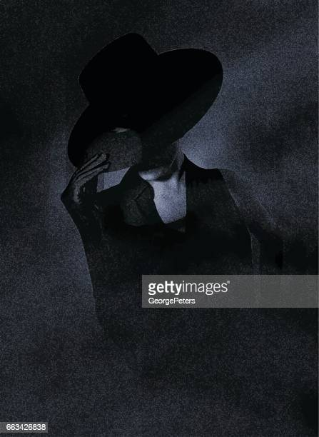 glamorous young woman with dark lighting - obscured face stock illustrations, clip art, cartoons, & icons