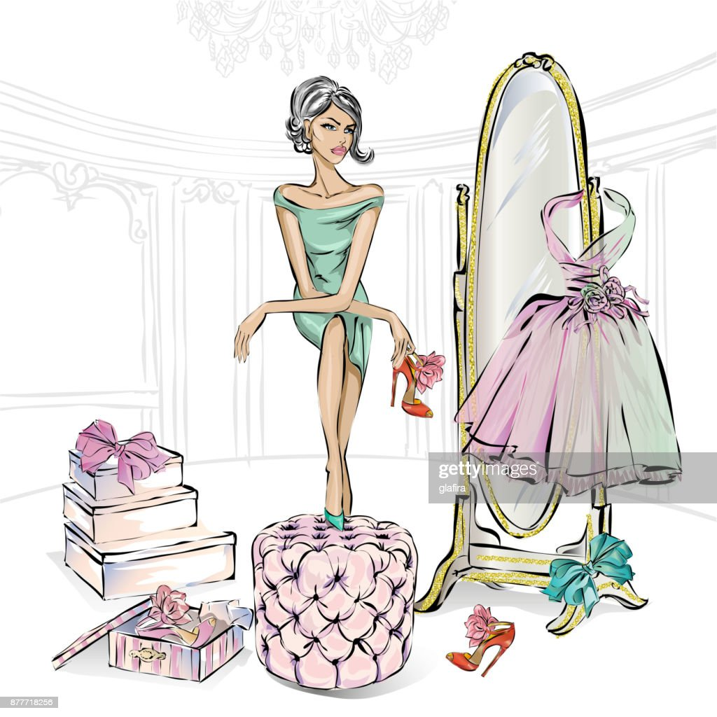 Glamour fashion girl chooses beauty high heel shoes in boutique or closet. Shoes shopping, luxury fashion woman, glitter mirror vector illustration clipart art