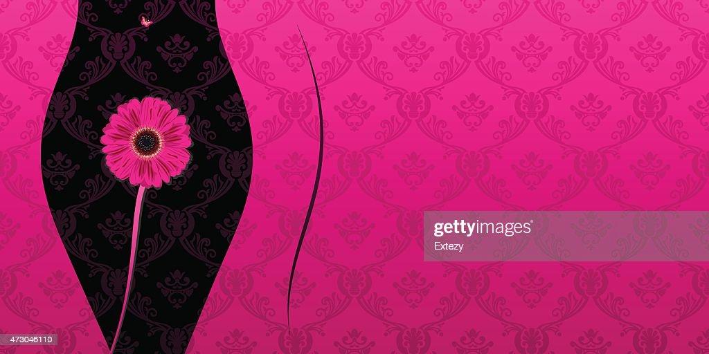 Glamour fashion invitation card flowers