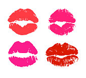 Glamour red and pink lipstick kiss prints