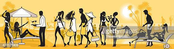 illustrations, cliparts, dessins animés et icônes de glamour beach club - bain de soleil