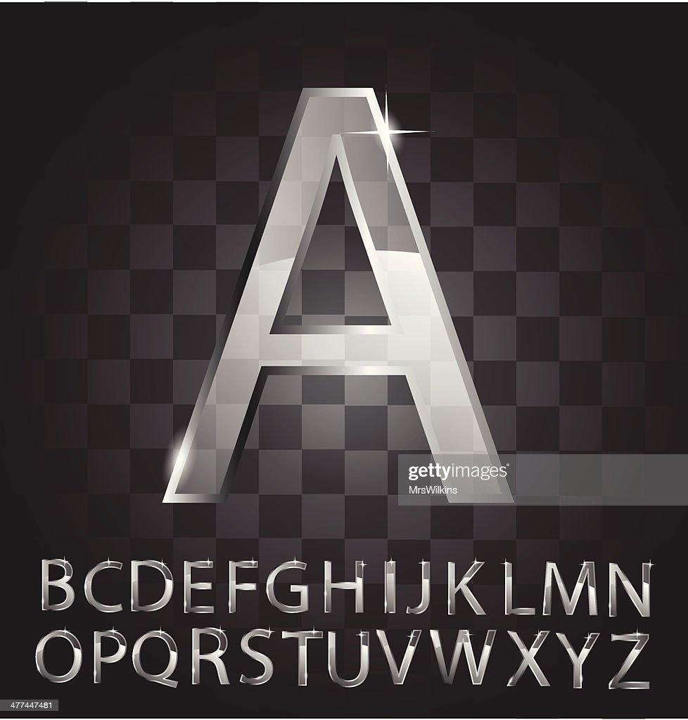 Glass alphabet vector