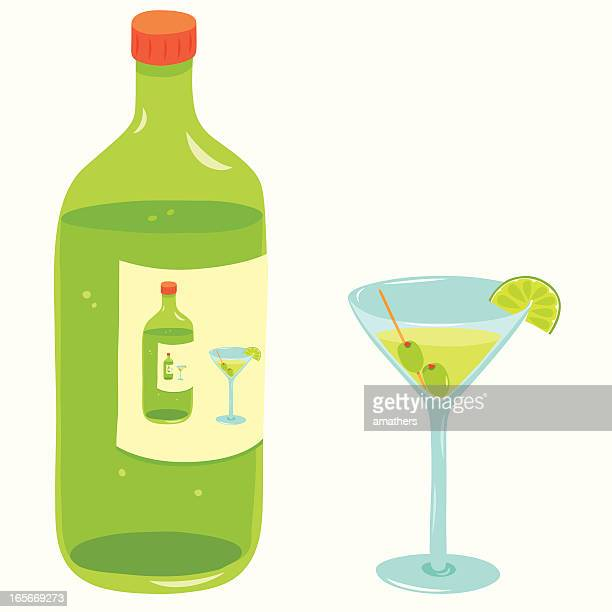 glass and bottle - vodka drink stock illustrations, clip art, cartoons, & icons