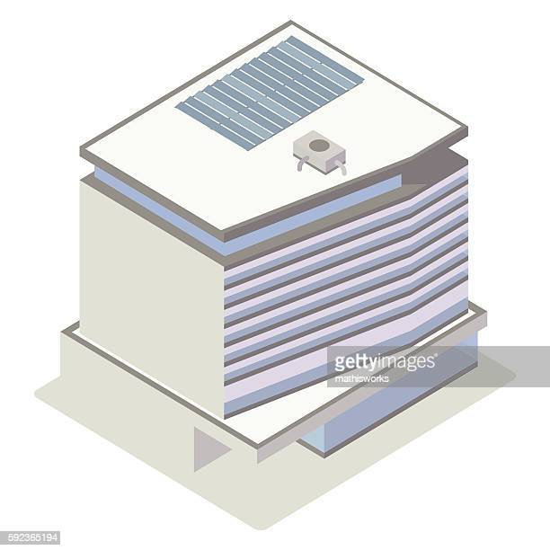 Glass and concrete building illustration