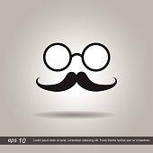glass and  hipster mustache icon vector illustration eps10 on gr