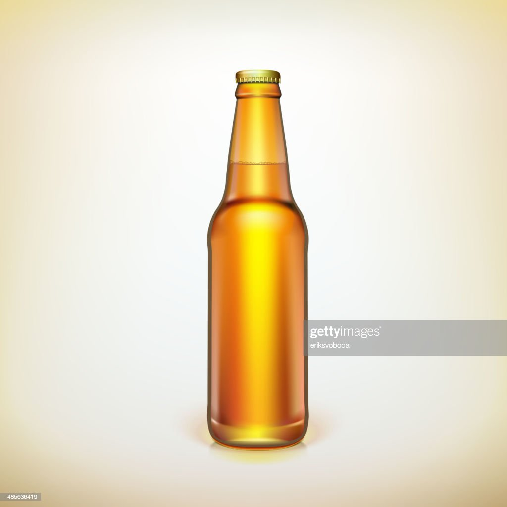 Glass beer brown bottle. Product packing.