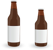 Glass Beer Brown Bottles On White background