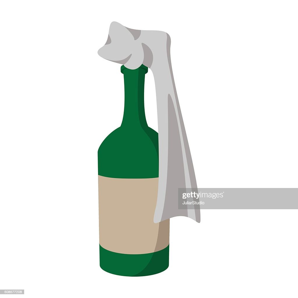 Glass bottle filled with gasoline : Vector Art