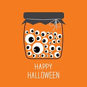 Glass bottle jar with eyeballs Halloween card. Flat