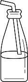Glass bottle of milkshake with straw line icon