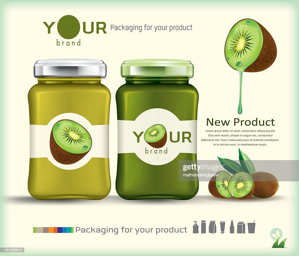 Glass bottle packaging for fruit jam design.kiwi fruit