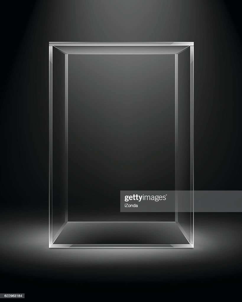 Glass Box Rectangle Cube Isolated on Dark Black