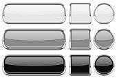 Glass buttons with chrome frame. Set of shiny 3d web icons