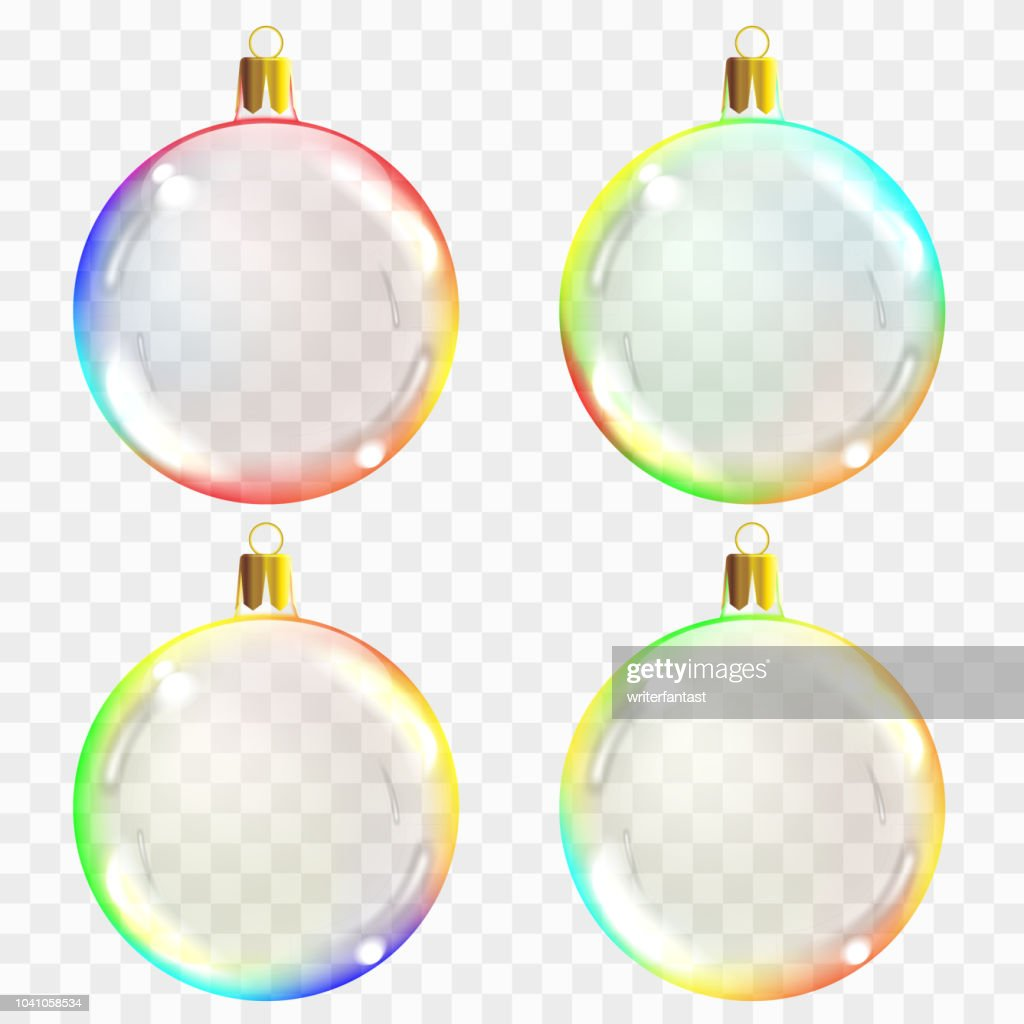 Glass Christmas toys. Can be used on any background. Stocking Christmas decorations. Transparent vektor object for design, mocap. Vector illustration.
