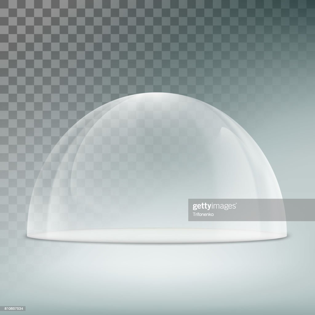 Glass dome on a transparent background