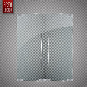 Glass door isolated on transparent background. Vector