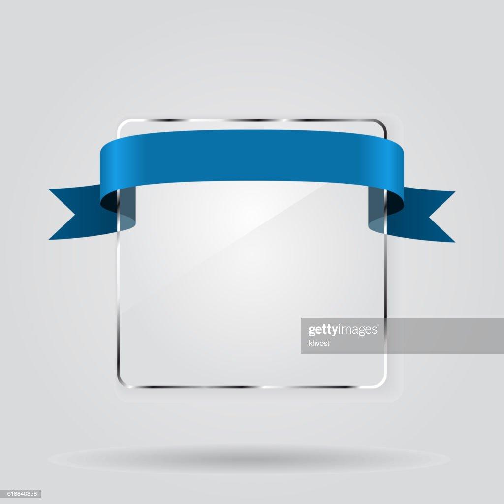 Glass framework with ribbon. Vector illustration.