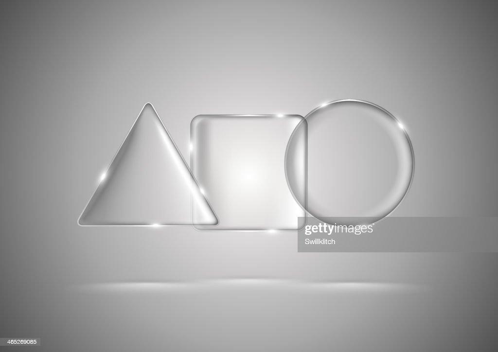 Glass geometric triangle, square and circle