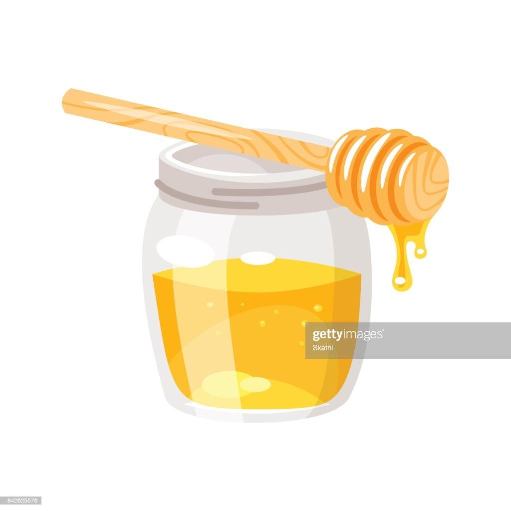glass honey jar.