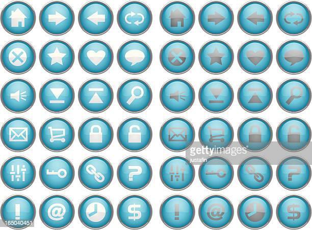 glass internet / web buttons - blue - animal heart stock illustrations, clip art, cartoons, & icons