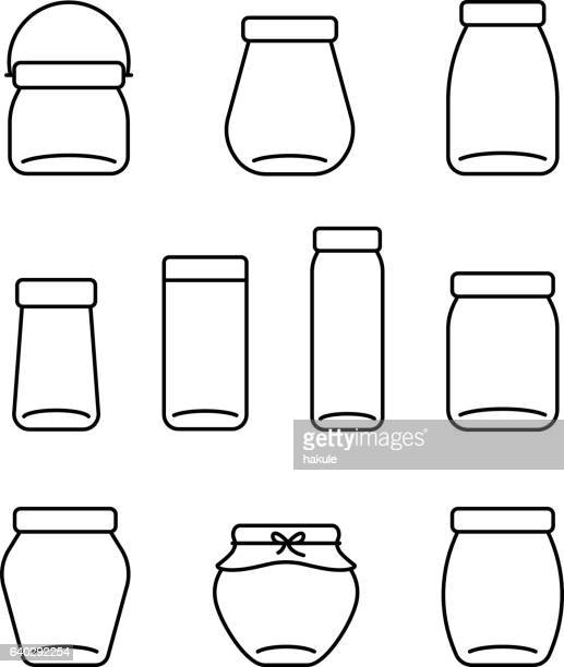 glass jar line icons set, vector illustration