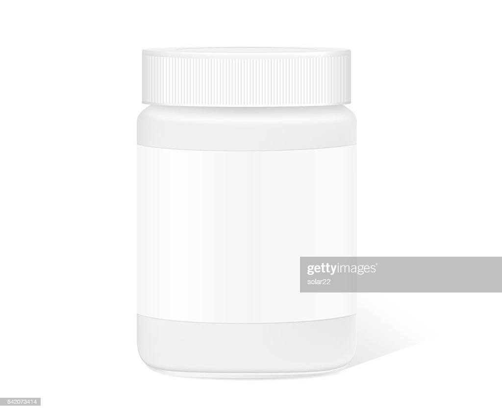 Glass jar with clear label isolated