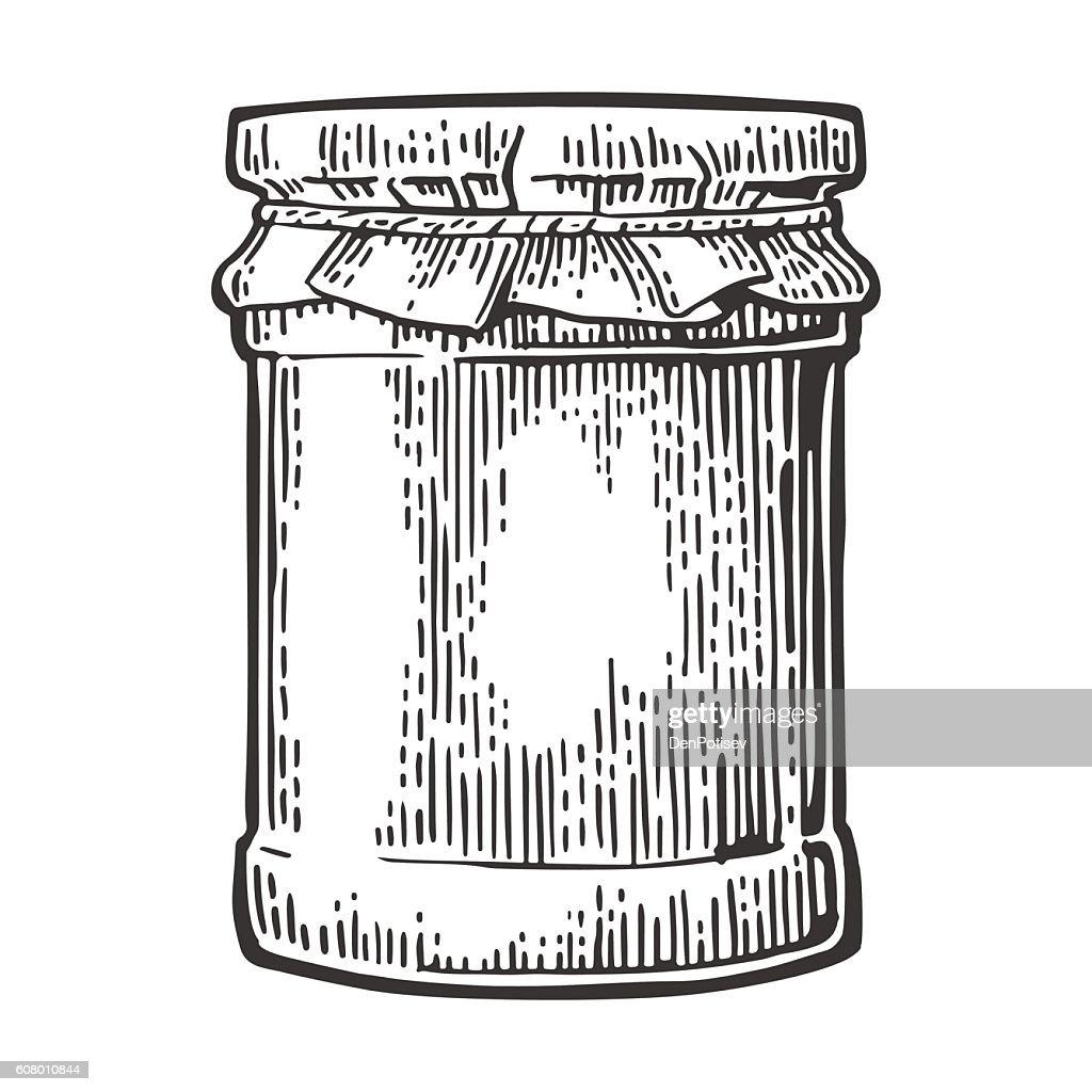 Glass Jar with jam. Vector vintage engraved illustration.