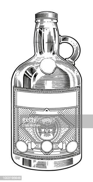 glass jug with label - rum stock illustrations, clip art, cartoons, & icons