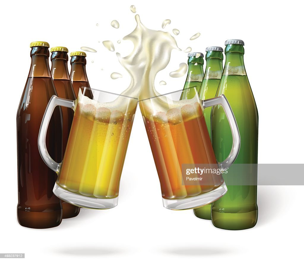 Glass mugs of beer and beer bottles
