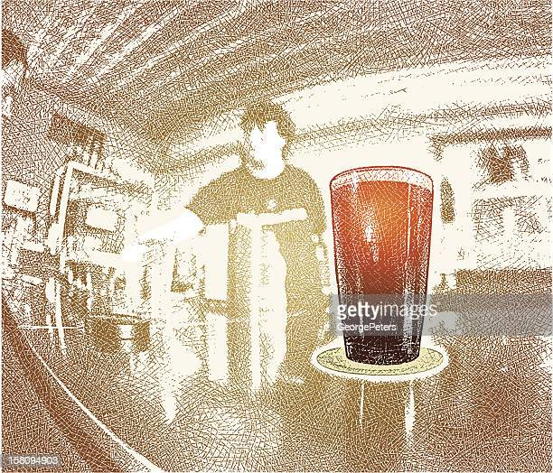 glass of beer on bar - lager stock illustrations, clip art, cartoons, & icons