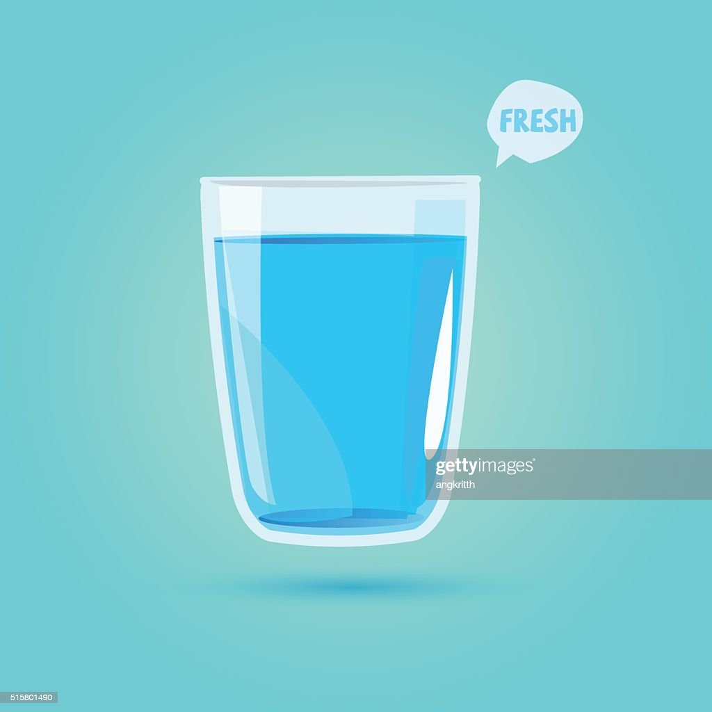 glass of drinking water. healthy drink concept - vector