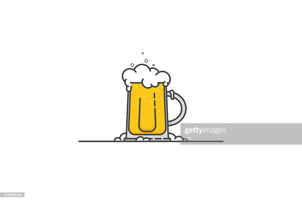 Glass of fresh beer. Line art. Stock vector.