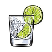Glass of gin, vodka, soda water with ice and lime