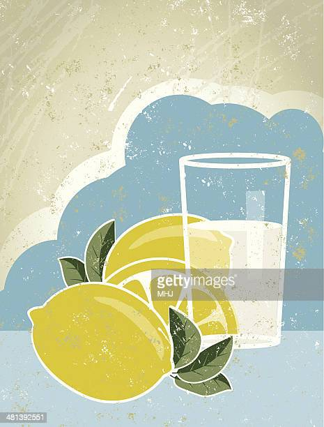 glass of lemonade with lemons and sky - fruit juice stock illustrations, clip art, cartoons, & icons