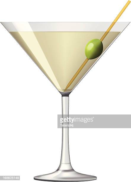 Glass of martini with green olive