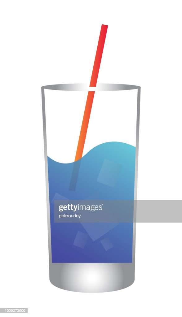 Glass of mineral water with ice and straw