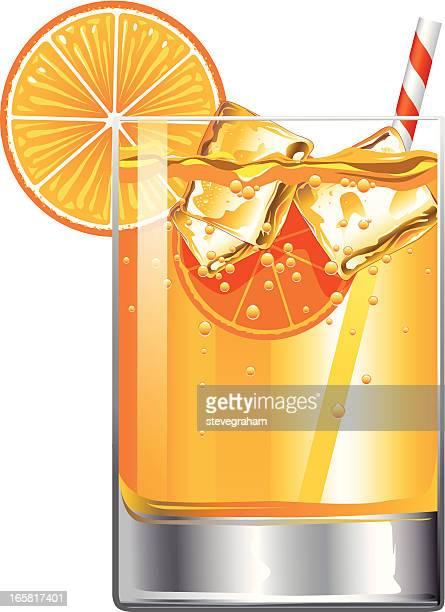 glass of orange fruit juice - orange juice stock illustrations, clip art, cartoons, & icons