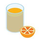 Glass of orange juice 3d isometric icon