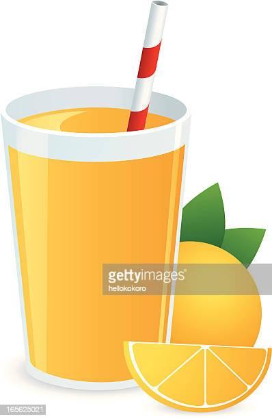 glass of orange juice and straw - orange juice stock illustrations, clip art, cartoons, & icons