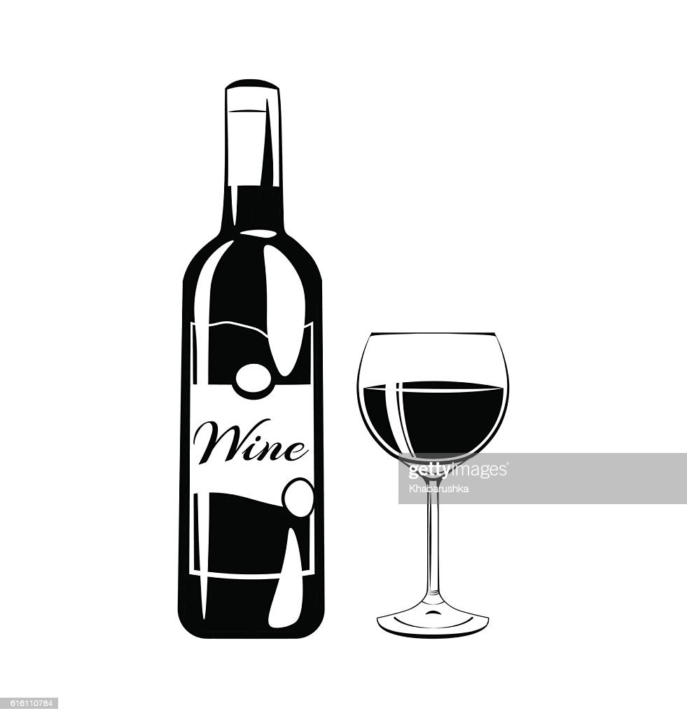 Glass of red wine and bottle on a white background.