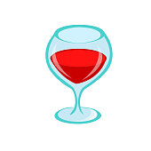 Glass of red wine on white background. For the menu, bar, restaurant, wine list. minimal. Cartoon illustration isolated.