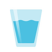 Glass of water flat vector on white background isolated